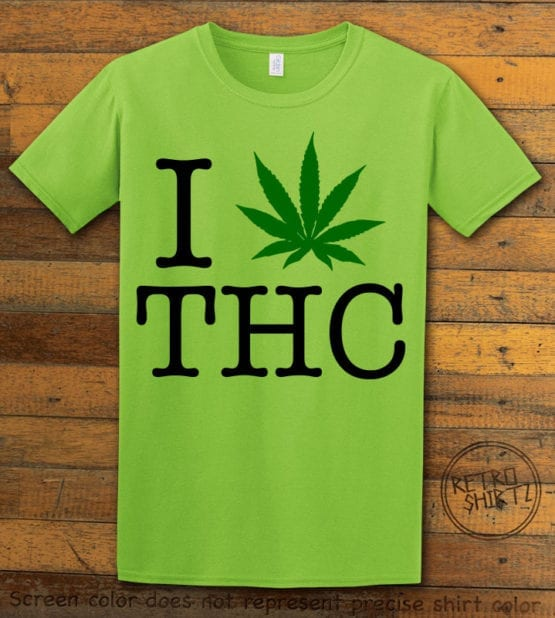 This is the main graphic design on a lime shirt for the Weed Shirt: I Heart THC
