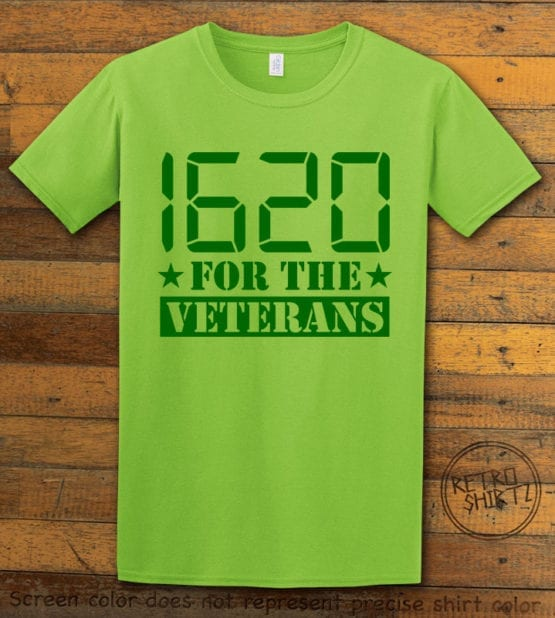 This is the main graphic design on a lime shirt for the Weed Shirt: 1620 Veterans