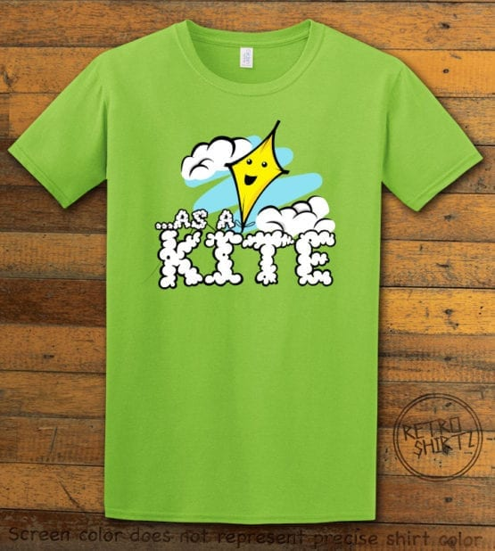 This is the main graphic design on a lime shirt for the Weed Shirt: High as a Kite