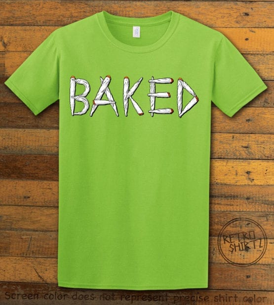 This is the main graphic design on a lime shirt for the Weed Shirt: Baked Joint Letters