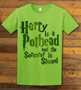 This is the main graphic design on a lime shirt for the Weed Shirt: Harry is a Pothead