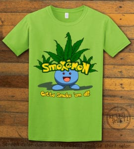 This is the main graphic design on a lime shirt for the Weed Shirt: Smokemon Oddish Pot Leaf