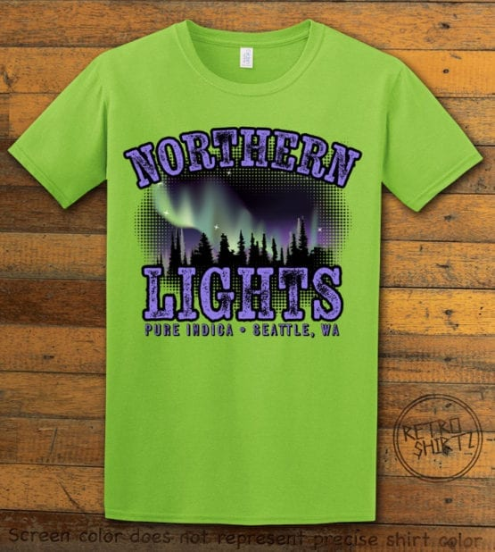 This is the main graphic design on a lime shirt for the Weed Shirt: Northern Lights Indica