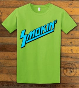 This is the main graphic design on a lime shirt for the Weed Shirt: Smokin Rockstar