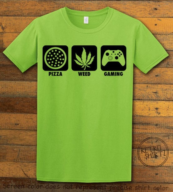 This is the main graphic design on a lime shirt for the Weed Shirt: Pizza Weed Gaming