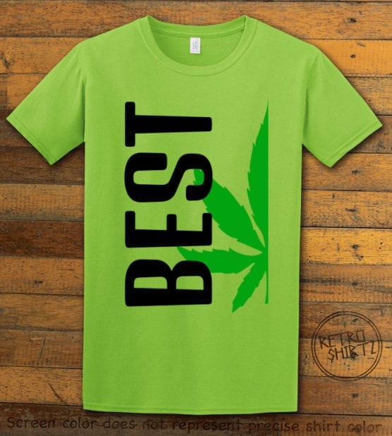 This is the main graphic design on a lime shirt for the Weed Shirt: Best of Best Buds