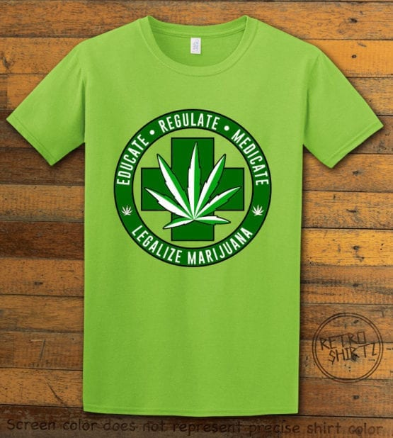 This is the main graphic design on a lime shirt for the Weed Shirt: Legalize Medical Marijuana