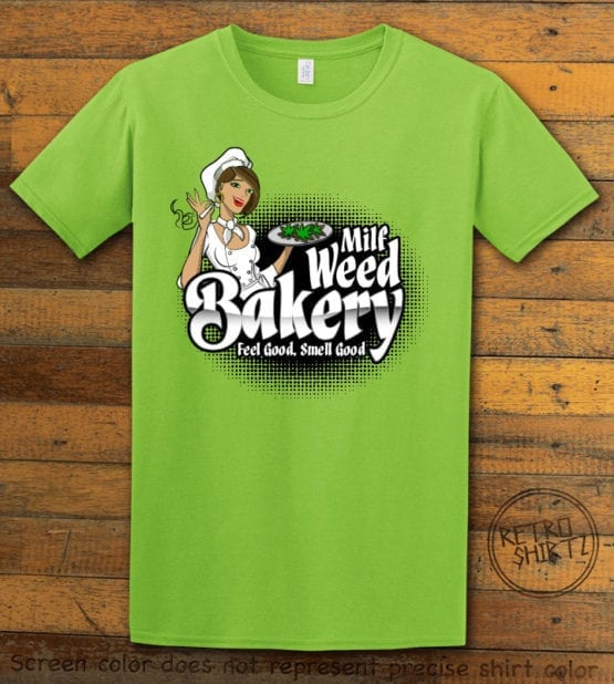 This is the main graphic design on a lime shirt for the Weed Shirt: Milf Weed Bakery
