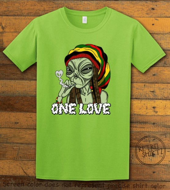This is the main graphic design on a lime shirt for the Weed Shirt: Rasta Alien
