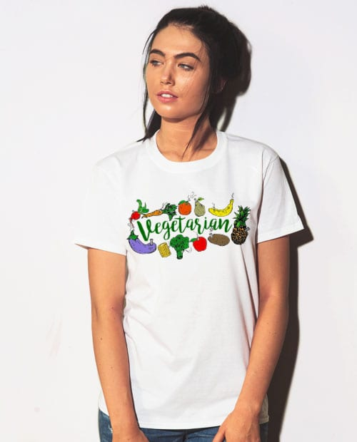 This is the main model photo for the Weed Shirt: Vegetarian
