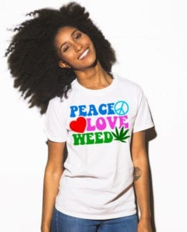 This is the main model photo for the Weed Shirt: Peace Love Weed