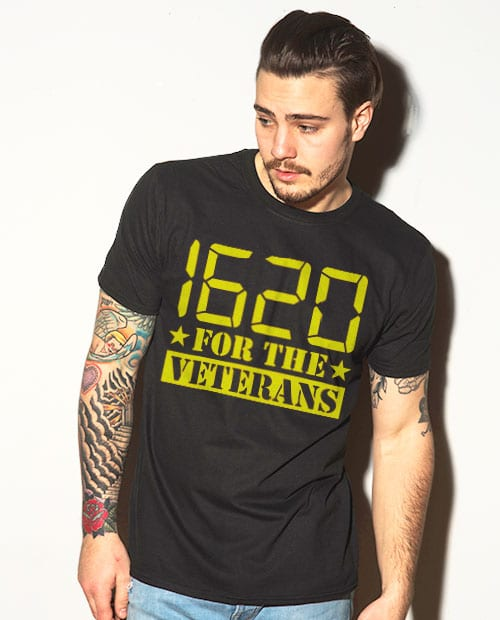 This is the main model photo for the Weed Shirt: 1620 Veterans