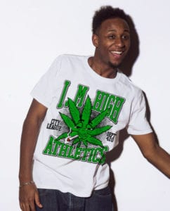 This is the main model photo for the Weed Shirt: Marijuana High School