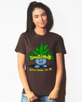 This is the main model photo for the Weed Shirt: Smokemon Oddish Pot Leaf
