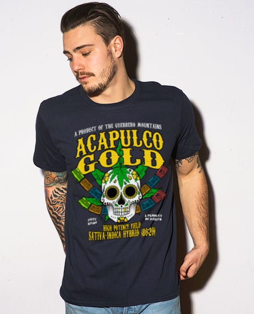 This is the main model photo for the Weed Shirt: Acapulco Gold Sativa Indica Hybrid