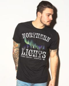 This is the main model photo for the Weed Shirt: Northern Lights Indica