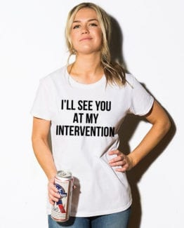 This is the main model photo for the Weed Shirt: Drug Intervention