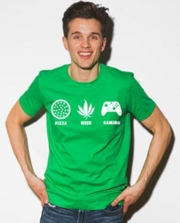 This is the main model photo for the Weed Shirt: Pizza Weed Gaming