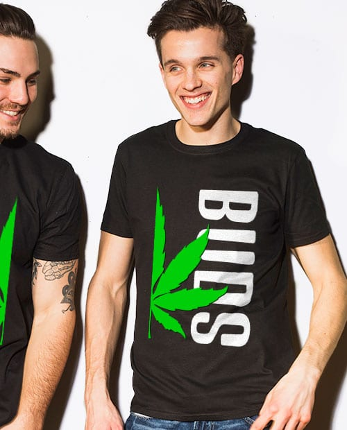 This is the main model photo for the Weed Shirt: Buds of Best Buds