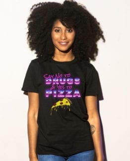 This is the main model photo for the Weed Shirt: Pizza Not Drugs