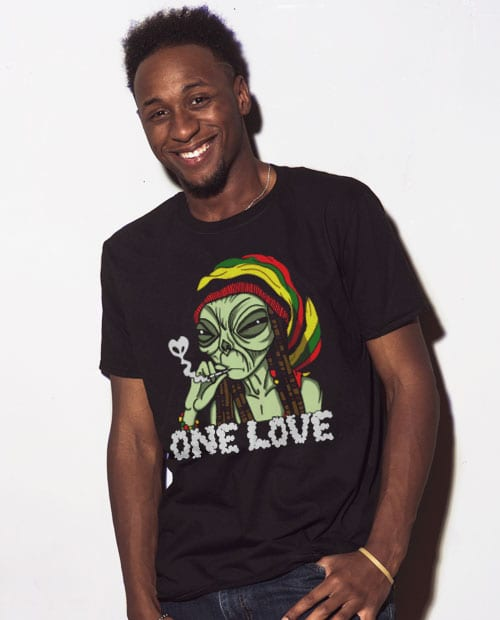 This is the main model photo for the Weed Shirt: Rasta Alien