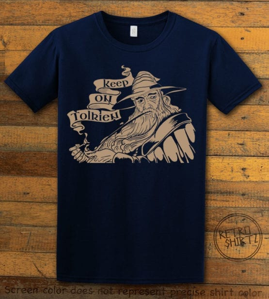 This is the main graphic design on a navy shirt for the Weed Shirt: Gandalf Smoking Pipeweed