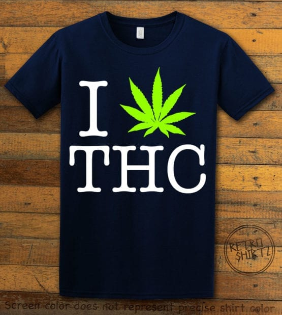 This is the main graphic design on a navy shirt for the Weed Shirt: I Heart THC