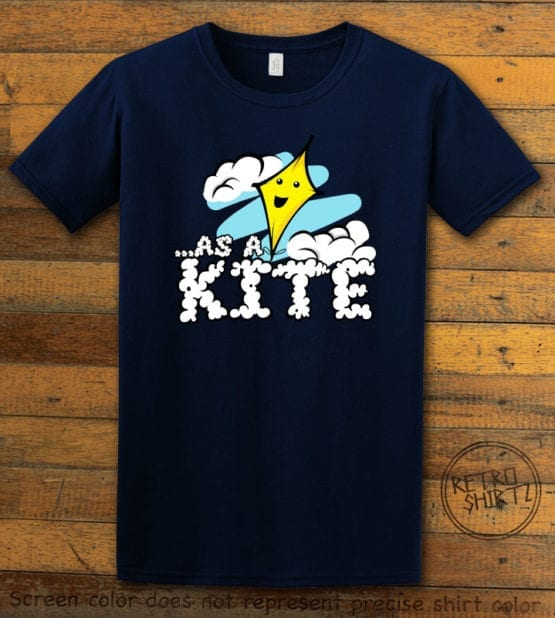 This is the main graphic design on a navy shirt for the Weed Shirt: High as a Kite