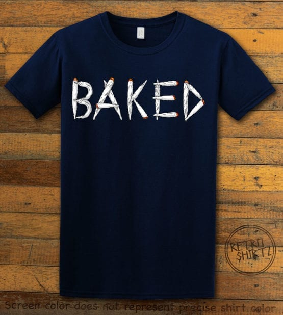 This is the main graphic design on a navy shirt for the Weed Shirt: Baked Joint Letters