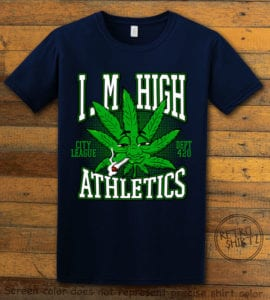 This is the main graphic design on a navy shirt for the Weed Shirt: Marijuana High School