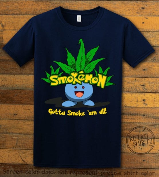 This is the main graphic design on a navy shirt for the Weed Shirt: Smokemon Oddish Pot Leaf