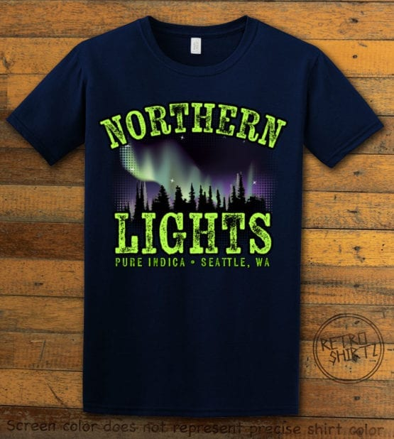 This is the main graphic design on a navy shirt for the Weed Shirt: Northern Lights Indica