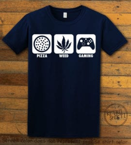 This is the main graphic design on a navy shirt for the Weed Shirt: Pizza Weed Gaming