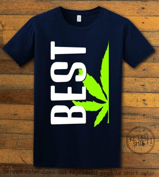 This is the main graphic design on a navy shirt for the Weed Shirt: Best of Best Buds