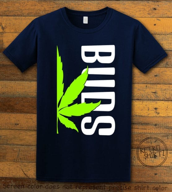 This is the main graphic design on a navy shirt for the Weed Shirt: Buds of Best Buds