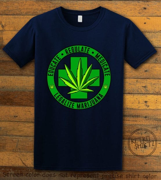 This is the main graphic design on a navy shirt for the Weed Shirt: Legalize Medical Marijuana