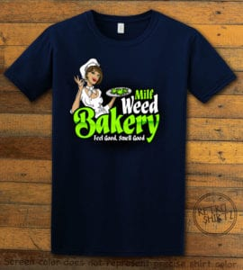 This is the main graphic design on a navy shirt for the Weed Shirt: Milf Weed Bakery