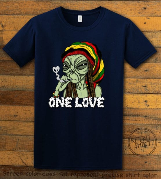 This is the main graphic design on a navy shirt for the Weed Shirt: Rasta Alien