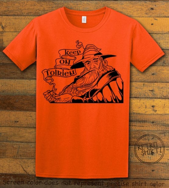 This is the main graphic design on a orange shirt for the Weed Shirt: Gandalf Smoking Pipeweed