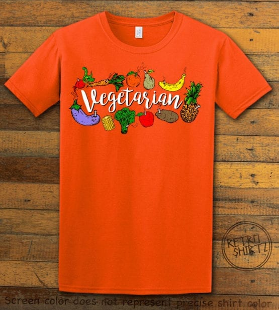 This is the main graphic design on a orange shirt for the Weed Shirt: Vegetarian