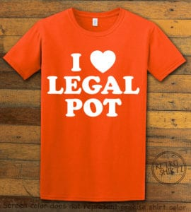 This is the main graphic design on a orange shirt for the Weed Shirt: I Heart Pot