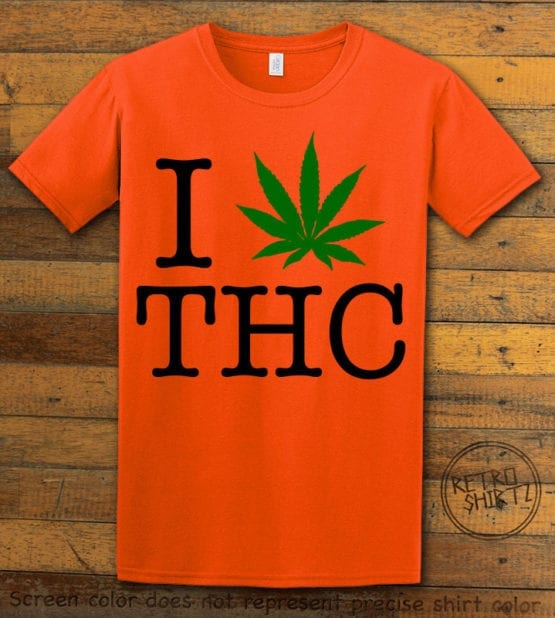 This is the main graphic design on a orange shirt for the Weed Shirt: I Heart THC