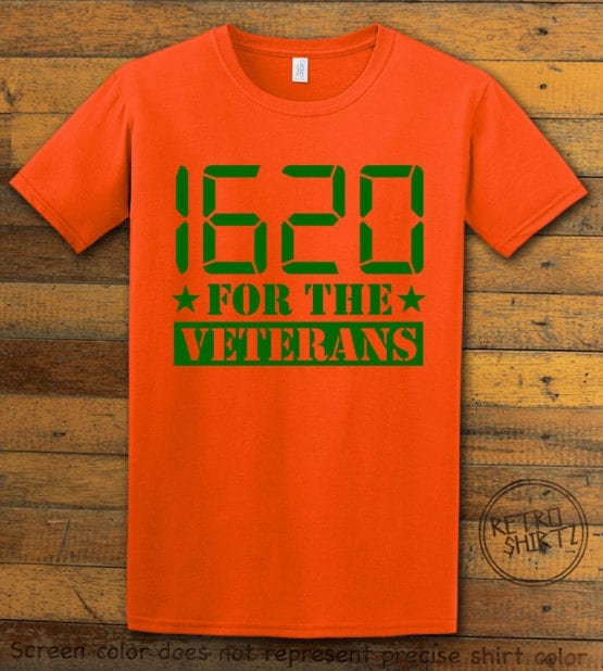 This is the main graphic design on a orange shirt for the Weed Shirt: 1620 Veterans