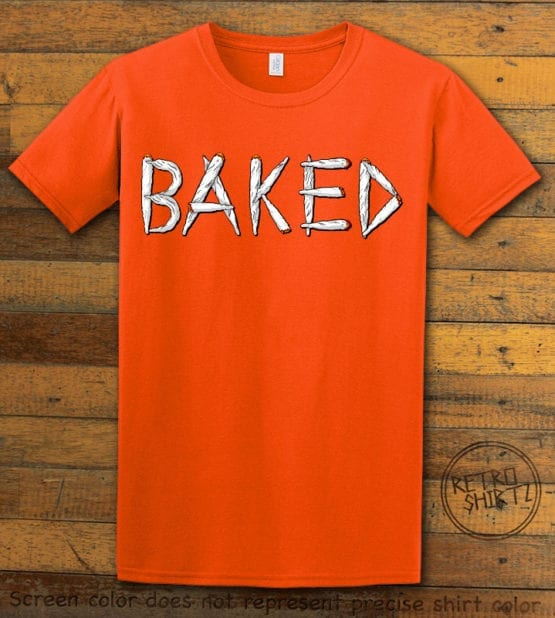 This is the main graphic design on a orange shirt for the Weed Shirt: Baked Joint Letters