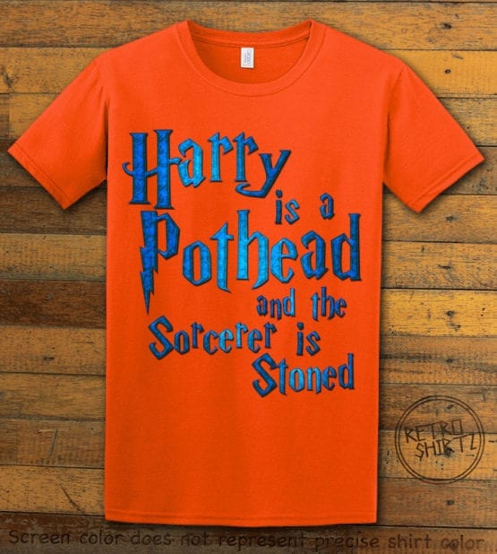 This is the main graphic design on a orange shirt for the Weed Shirt: Harry is a Pothead
