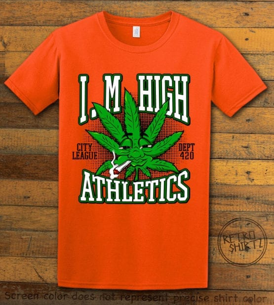 This is the main graphic design on a orange shirt for the Weed Shirt: Marijuana High School
