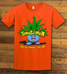 This is the main graphic design on a orange shirt for the Weed Shirt: Smokemon Oddish Pot Leaf