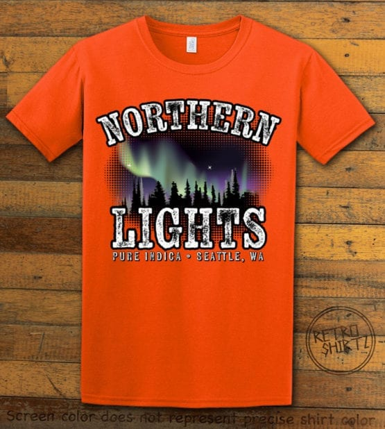 This is the main graphic design on a orange shirt for the Weed Shirt: Northern Lights Indica