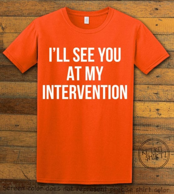 This is the main graphic design on a orange shirt for the Weed Shirt: Drug Intervention