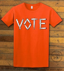 This is the main graphic design on a orange shirt for the Weed Shirt: Vote Legalize Marijuana